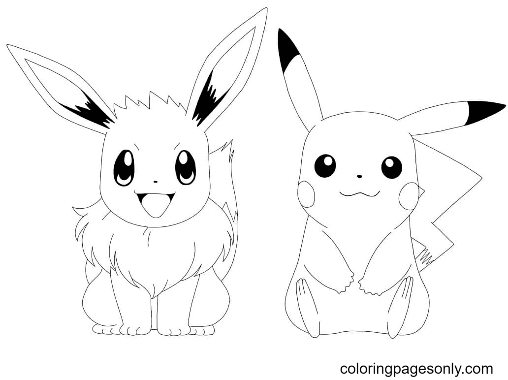 Eevee and Pikachu Coloring Page