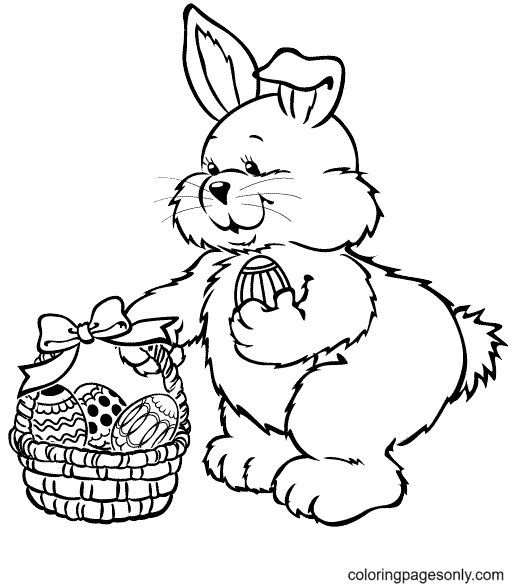 Fat Bunny and Basket Easter Eggs Coloring Page