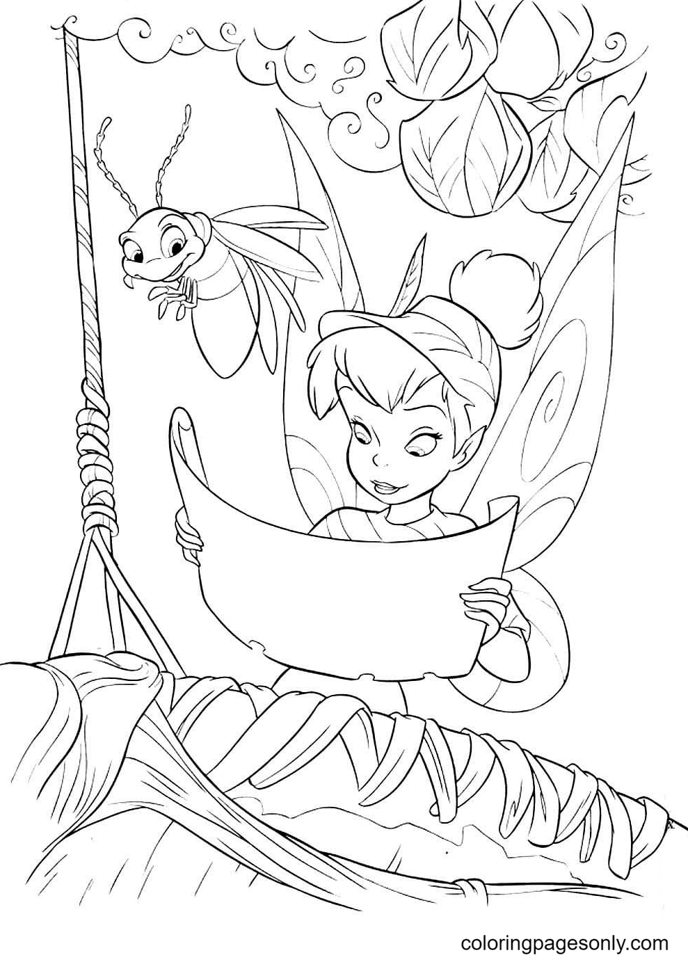 Firefly with Tinkerbell Coloring Page