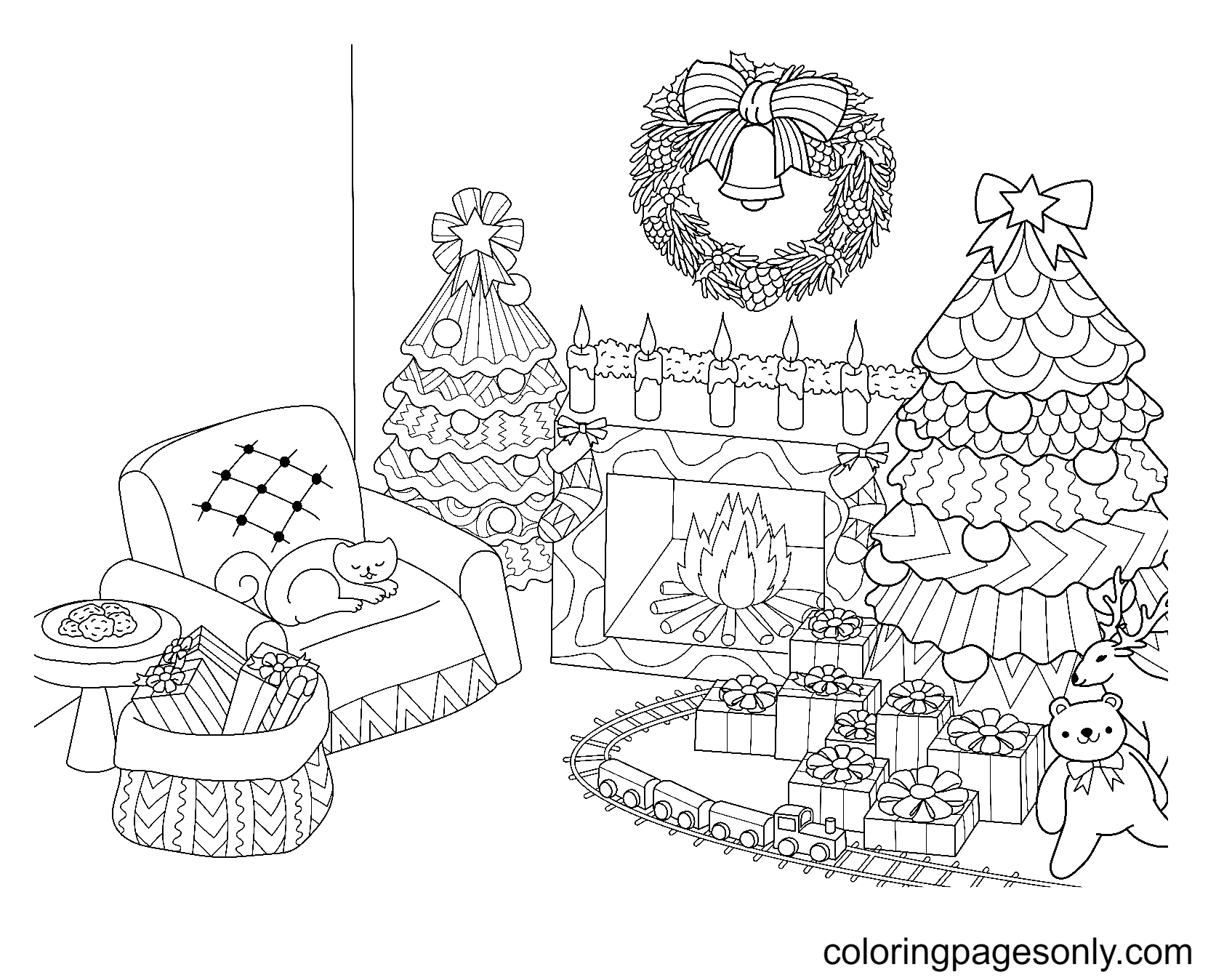 Fireplace and Two Christmas Trees Coloring Page
