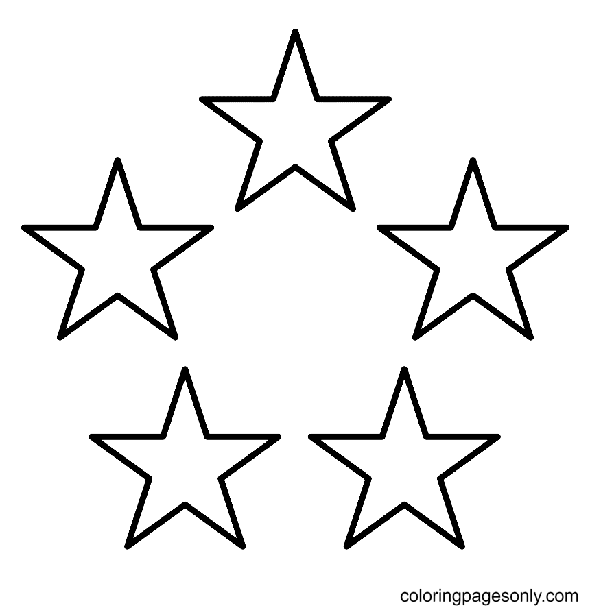Five Stars Coloring Page