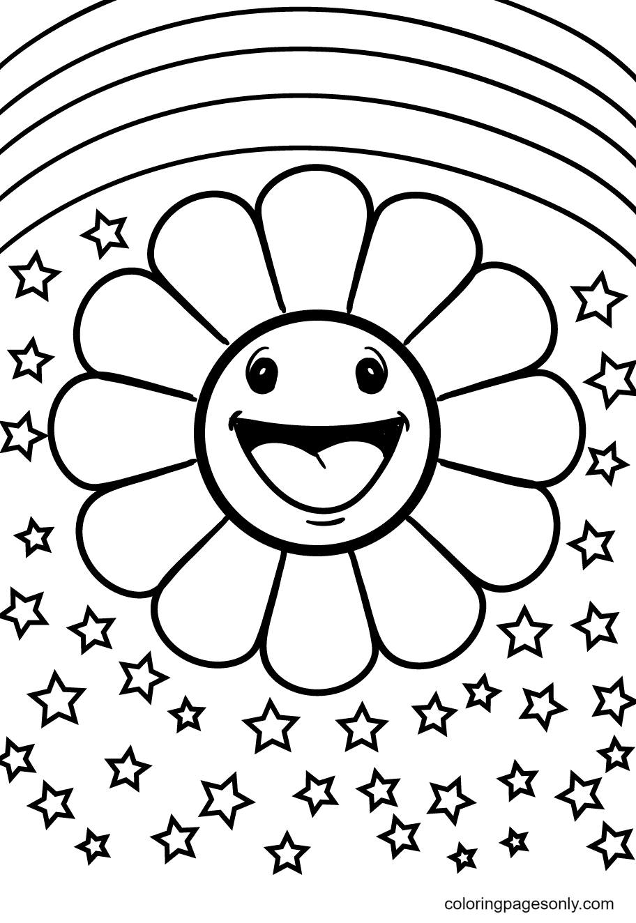 Flowers with Rainbows Coloring Page