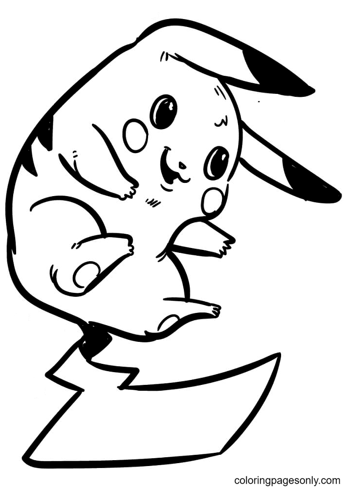 Flying Pikachu Coloring Page