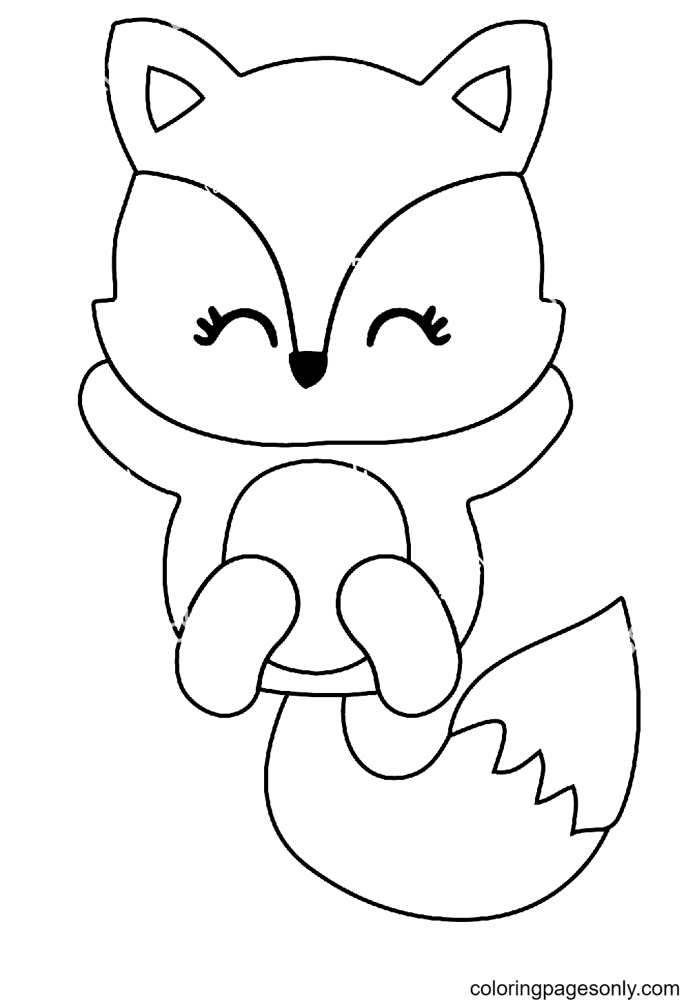 Fox Cute Coloring Page