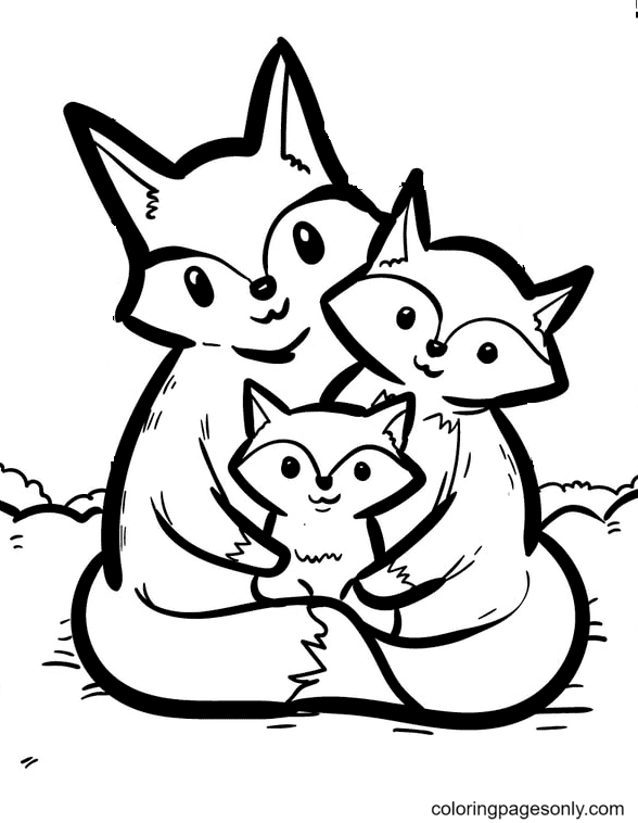 Fox Family Coloring Page