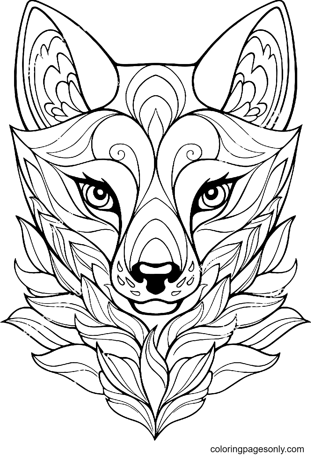 Fox Head Line Art Coloring Page