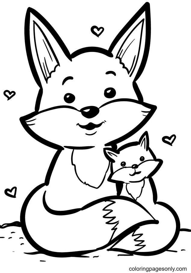 Fox Mom Hug Baby Fox Coloring Page