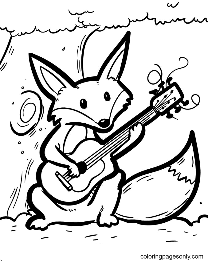 Fox Playing Guitar Coloring Page