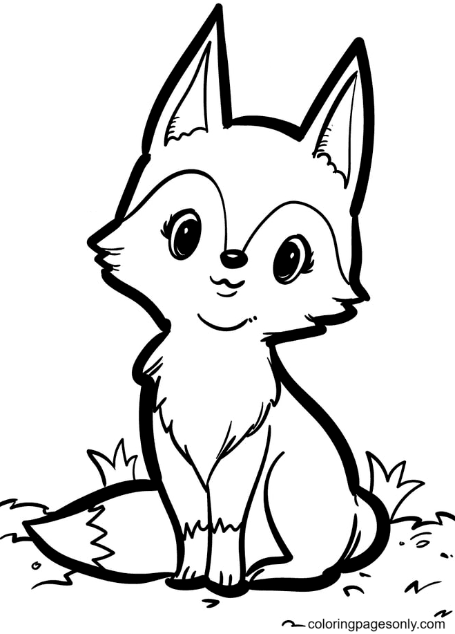 Fox Sits Proudly Coloring Page