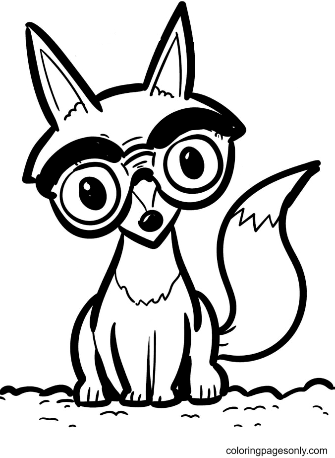 Fox Wear Glasses Coloring Page