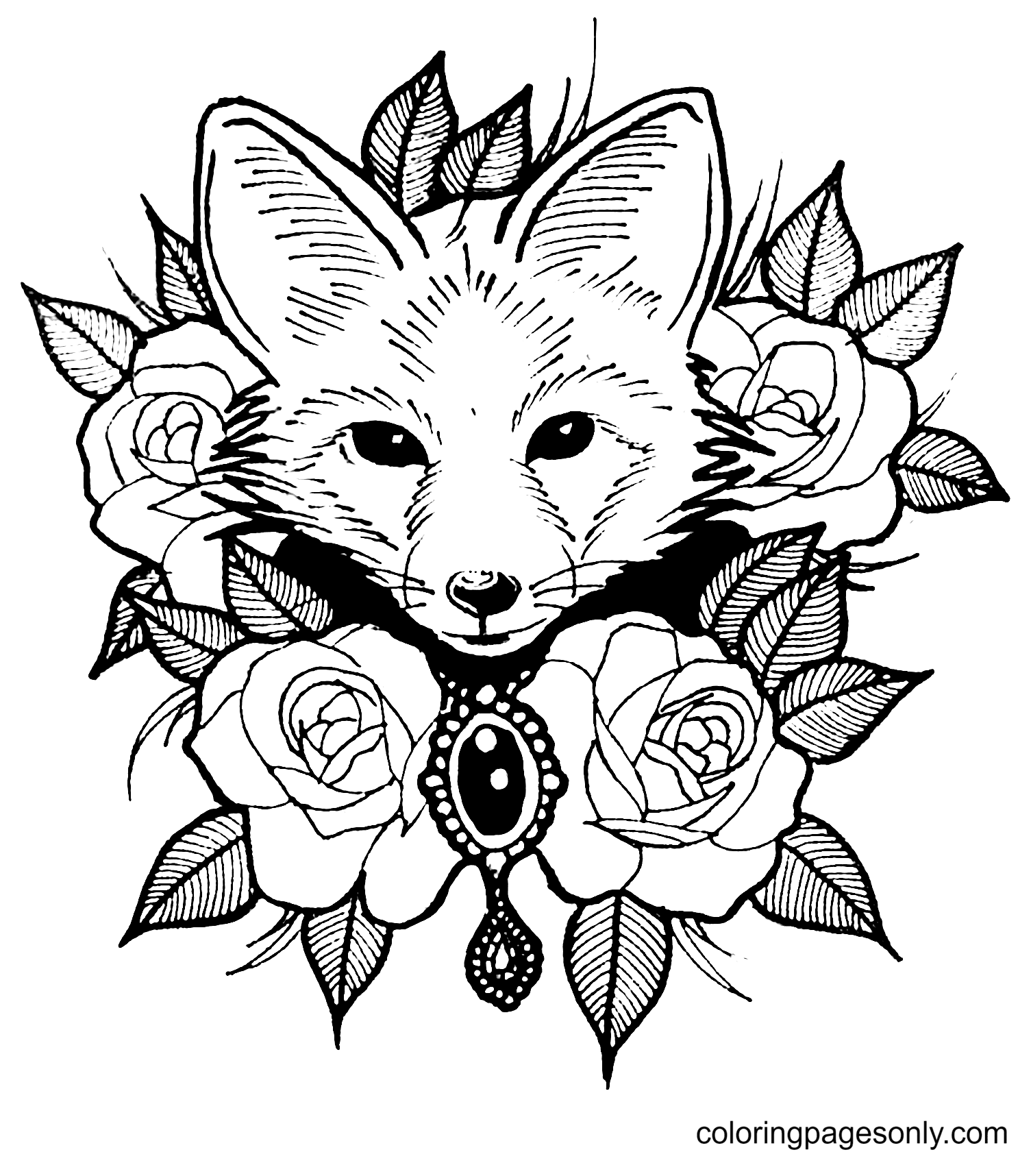 Fox With Rose Coloring Page
