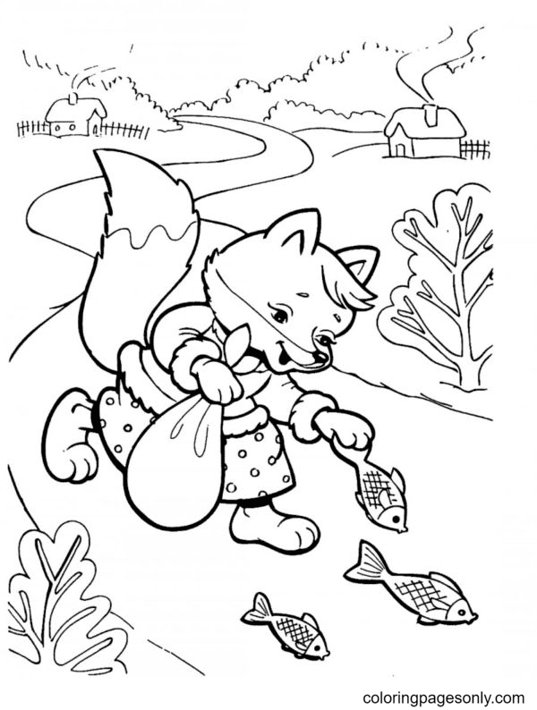 Fox and Fish Coloring Page