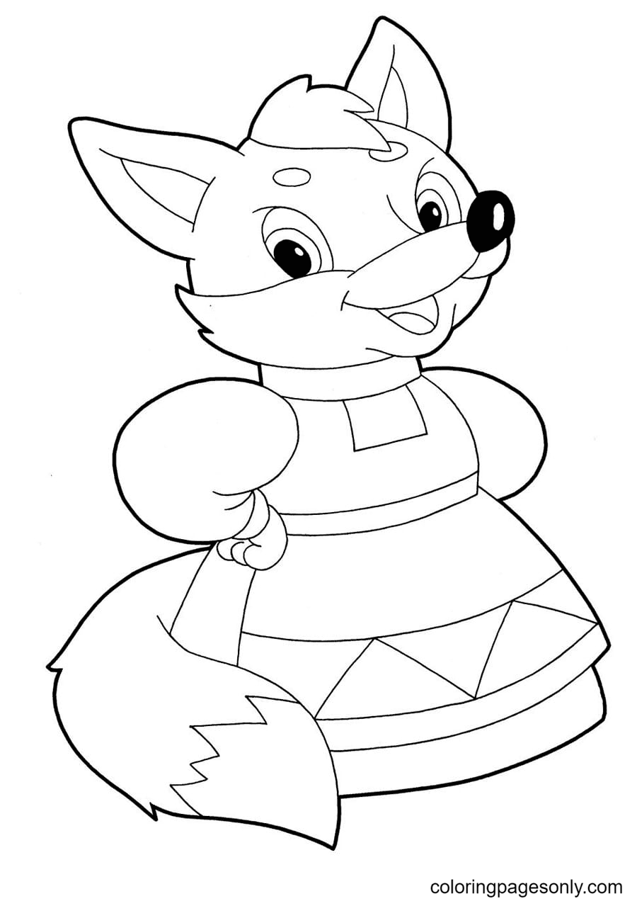Fox in Dress Coloring Page