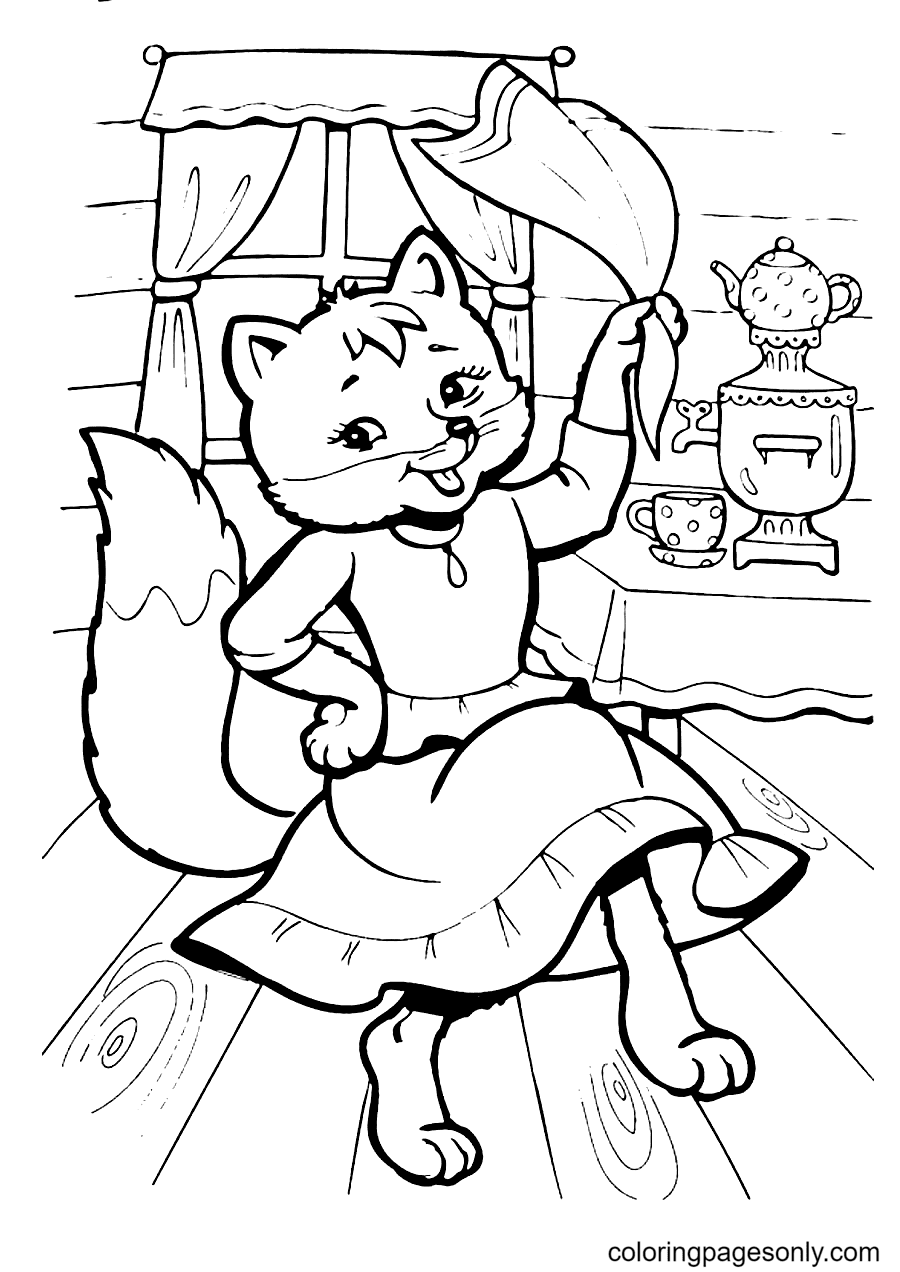 Fox is Dancing Coloring Page