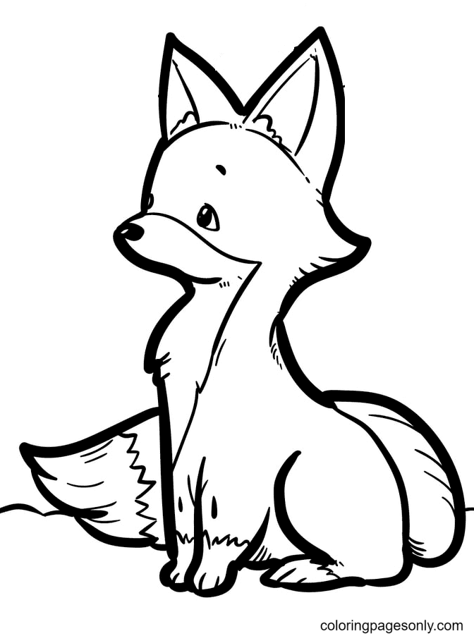 Fox is Sitting Thinking Coloring Page
