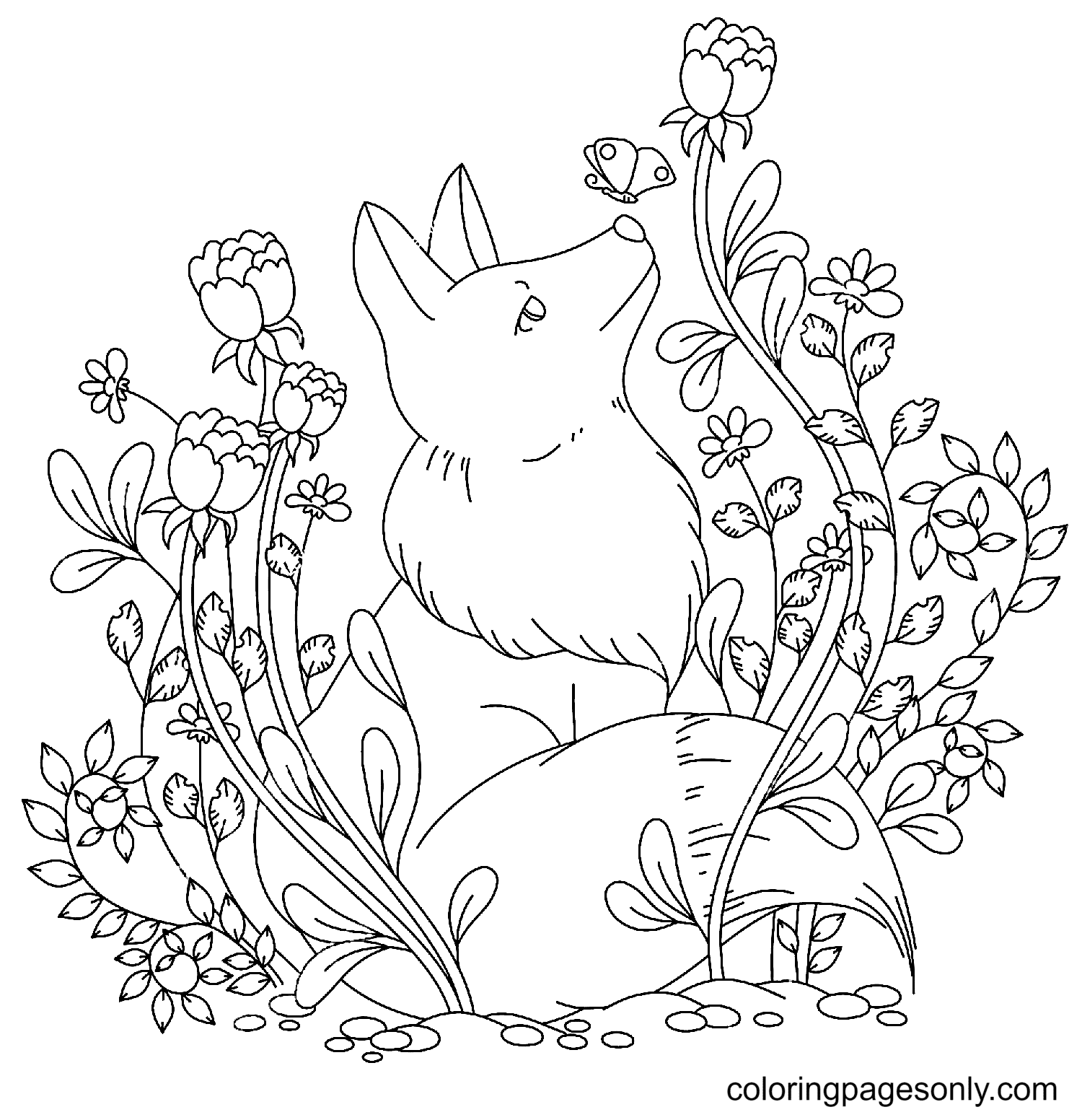 Fox with Butterfly and Flowers Coloring Page