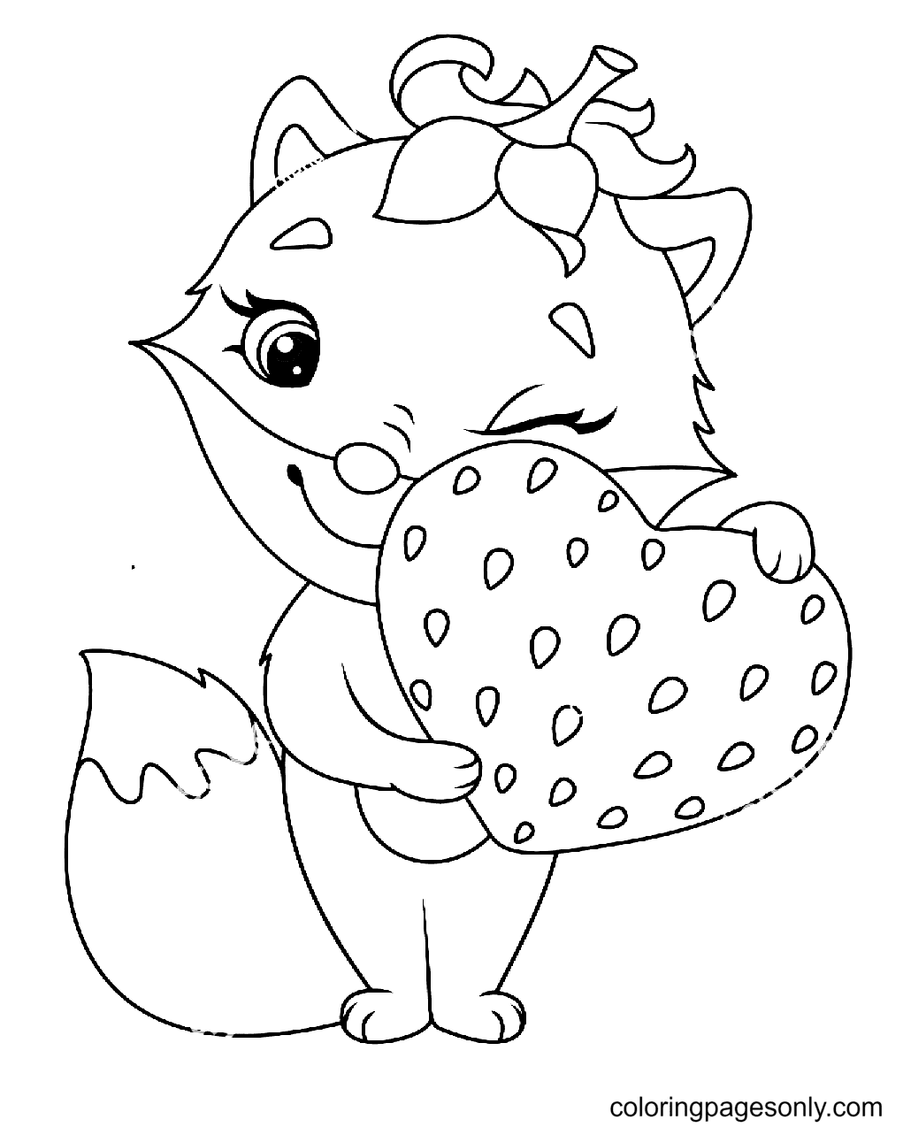 Fox with Strawberry Coloring Page