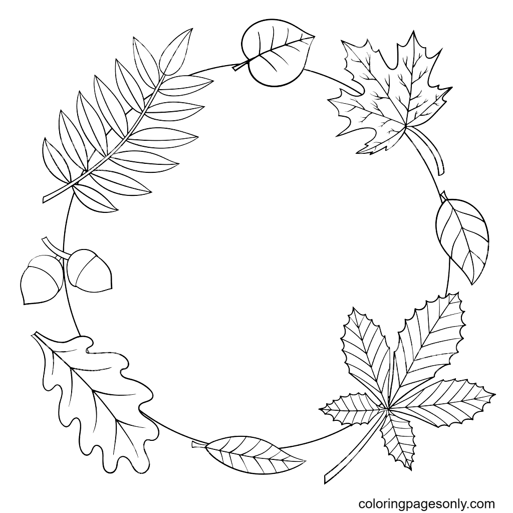Frame with Autumn Leaves Coloring Page