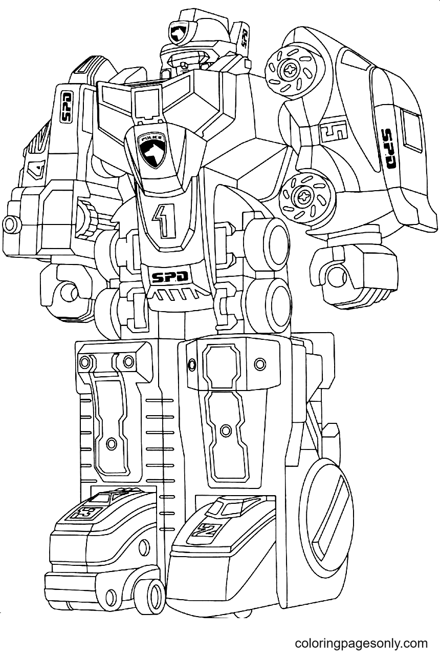 Free Police Robot Coloring Page