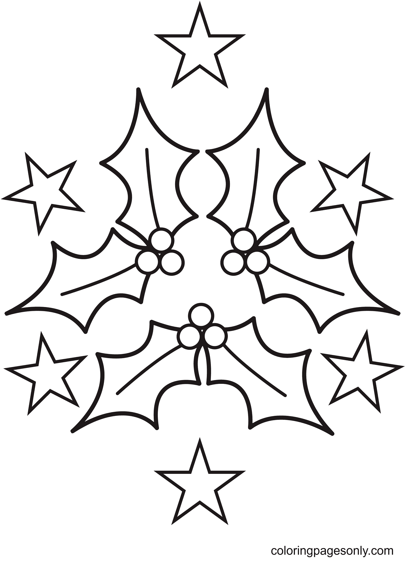 Free Printable Christmas Holly Coloring Page