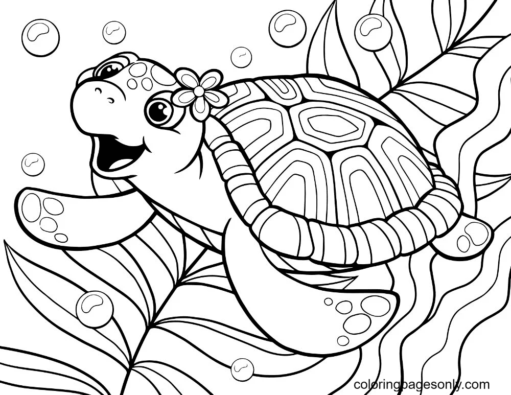 Friendly Turtle Coloring Page