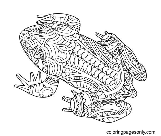 Frog Amphibian Zentangle Coloring Page