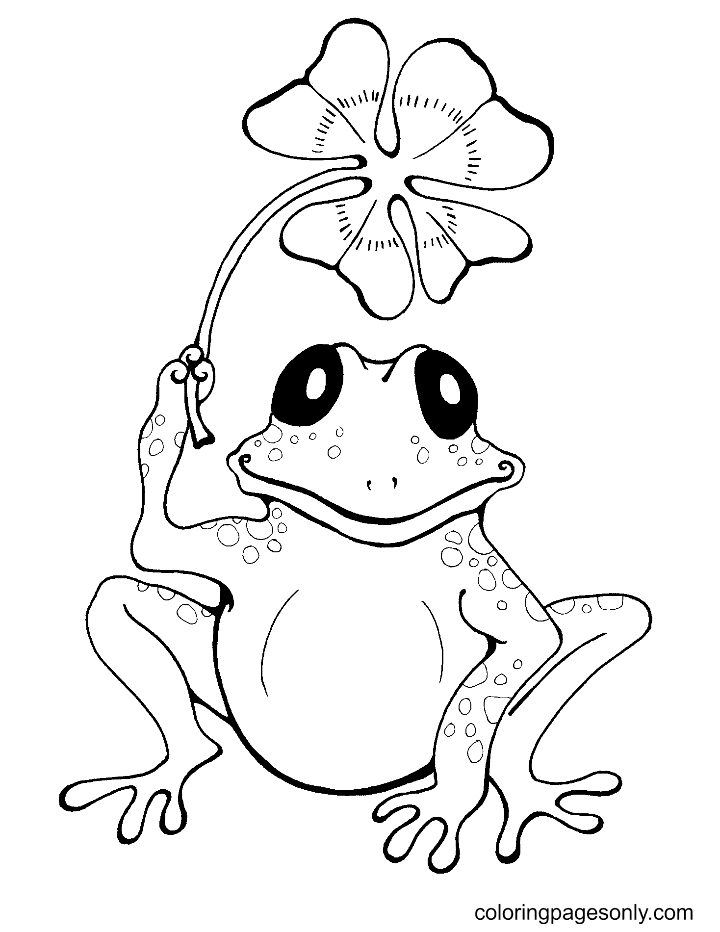 Frog Holding Lucky Grass Coloring Page