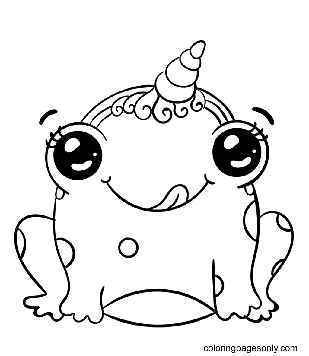 Frog Kawaii Coloring Page