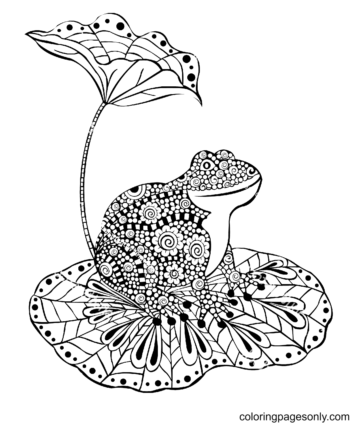 Frog Sitting On a Lotus Leaf Coloring Page