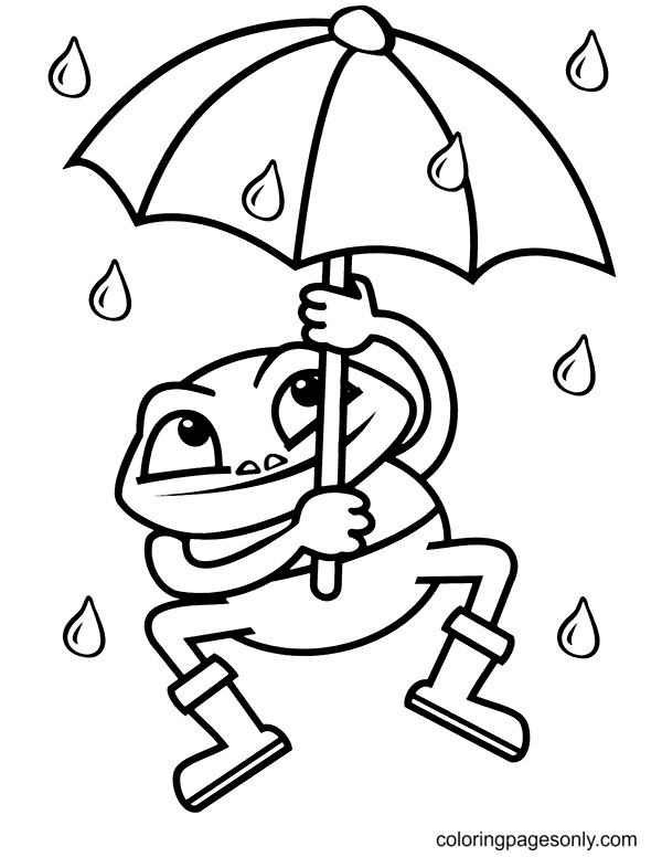 Frog and Umbrella Coloring Page
