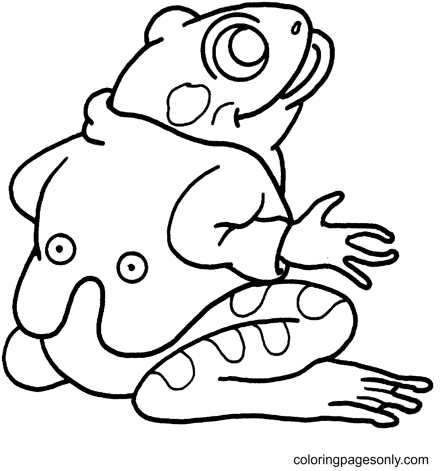 Frog in a Cute Vest Coloring Page