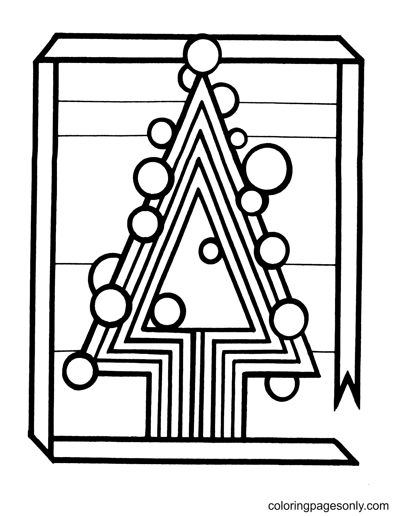 Fun Geometric Style Christmas Tree Coloring Page