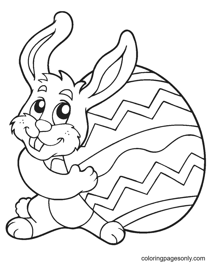 Funnt Easter Bunny Coloring Page