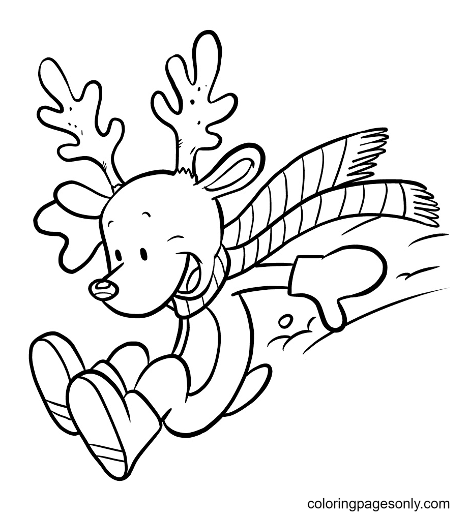 Funny Baby Reindeer Coloring Page