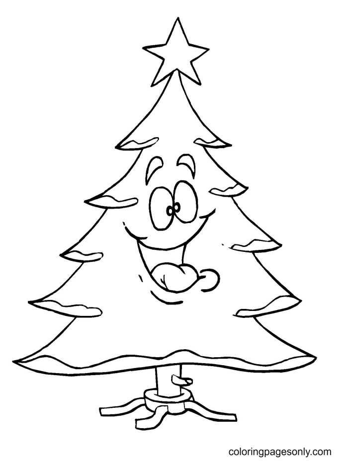 Funny Christmas Tree Coloring Page