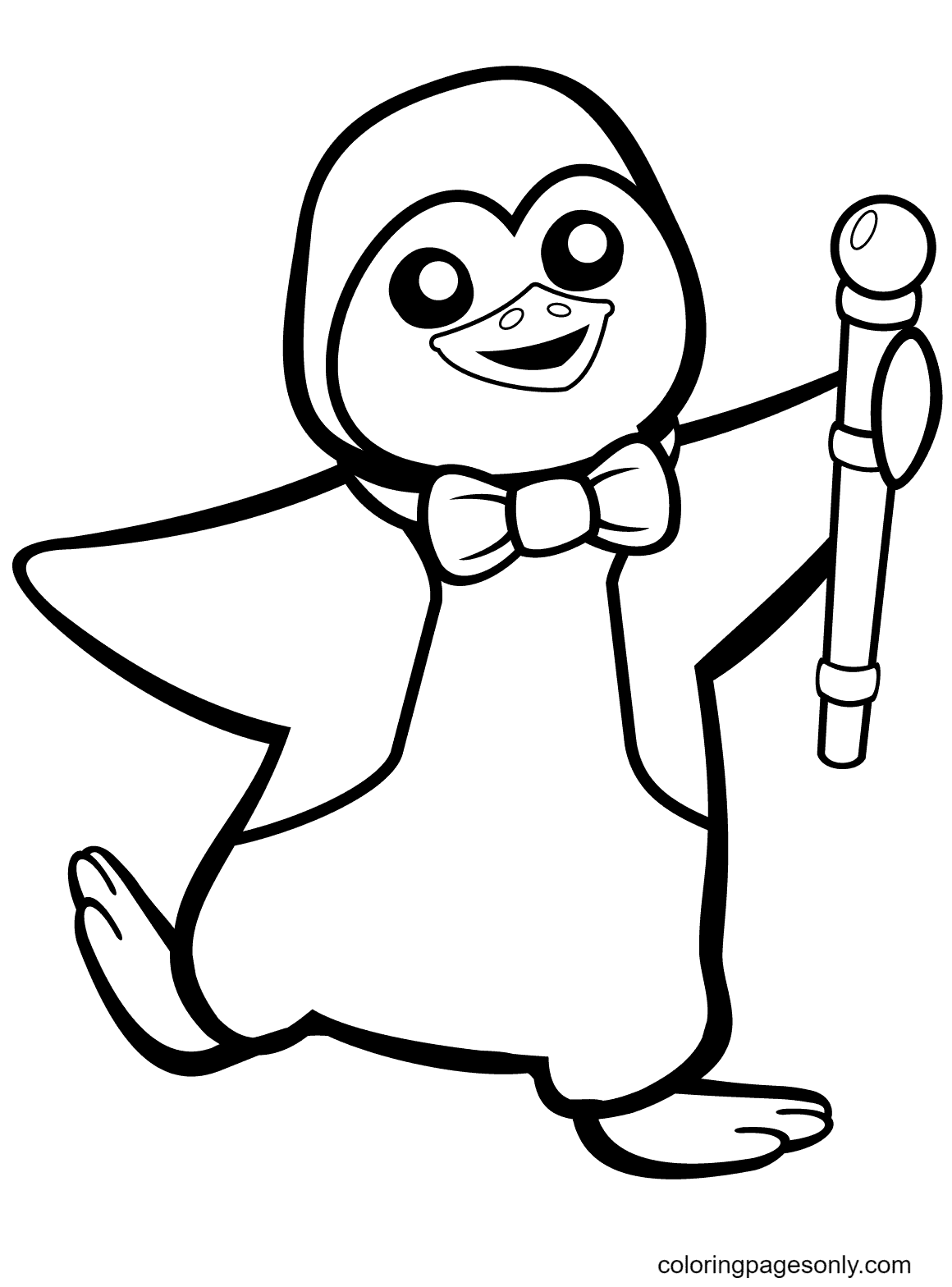 Funny Penguin with Bow Tie Coloring Page
