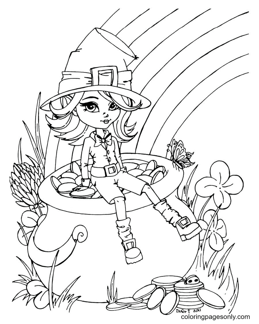 Girl on a Rainbow Background Coloring Page