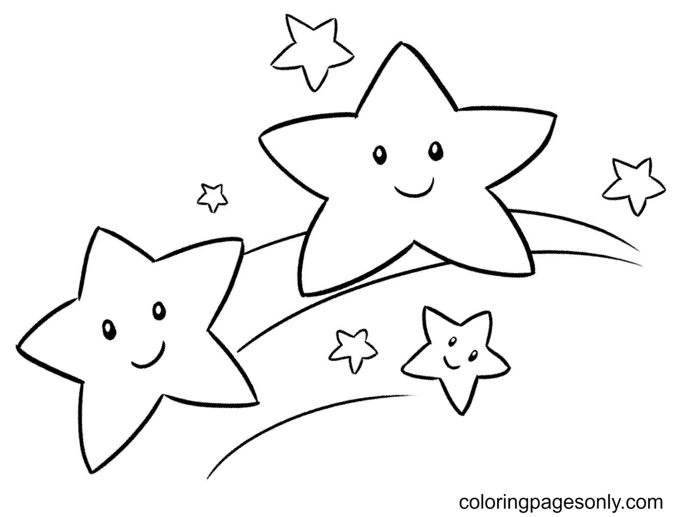 Gorgeous Stars Coloring Page