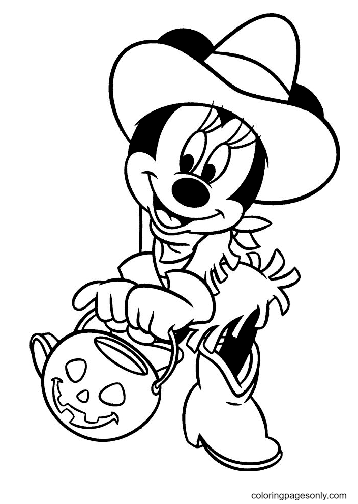 Halloween Minnie Mouse Cowboy Costume Coloring Page