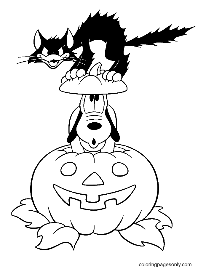 Halloween Pluto Black Cat Coloring Page