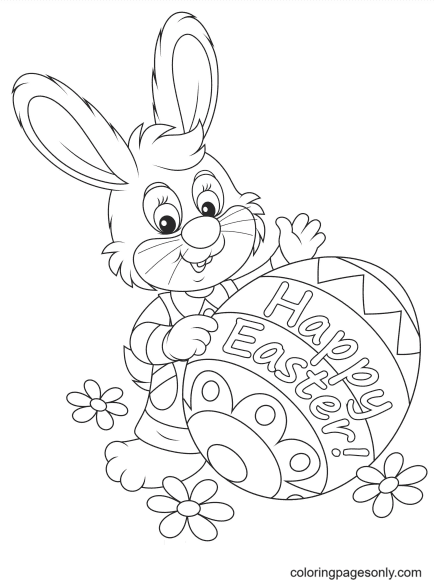 Happy Easter with Bunny Coloring Page
