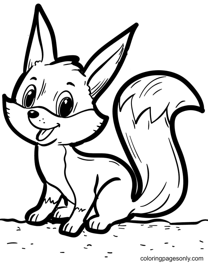 Happy Little Fox Coloring Page