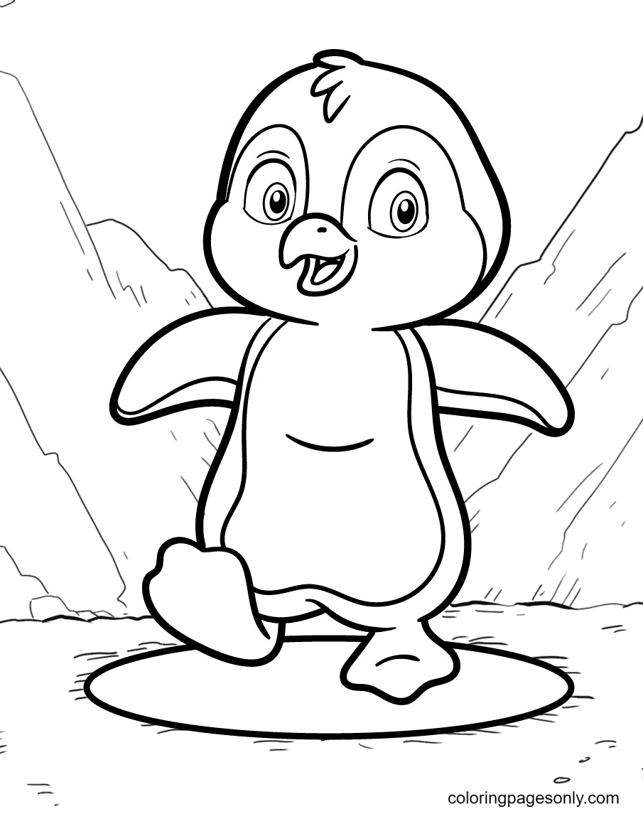 Happy Penguin Walking in the Snow Coloring Page