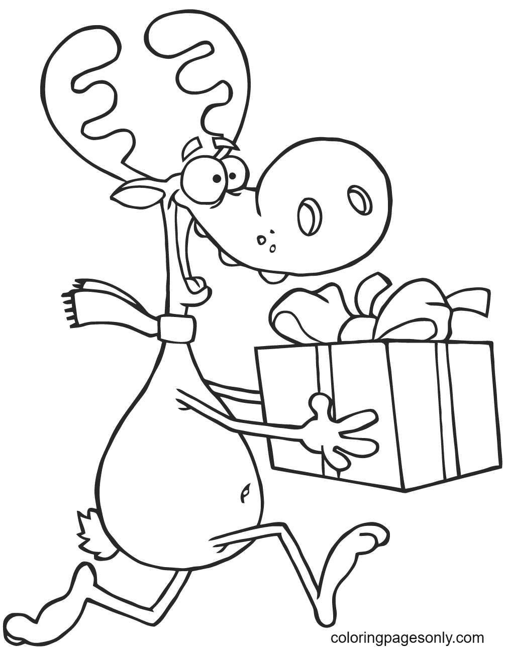 Happy Reindeer Runs with Gift Box Coloring Page