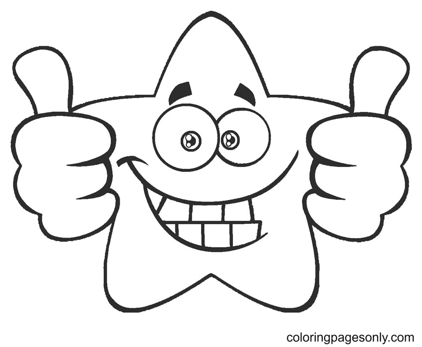 Happy Star Coloring Page