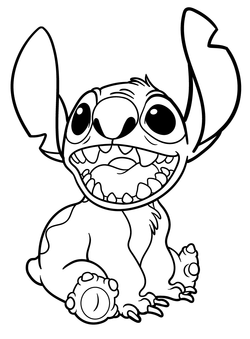 Happy Stitch Coloring Page