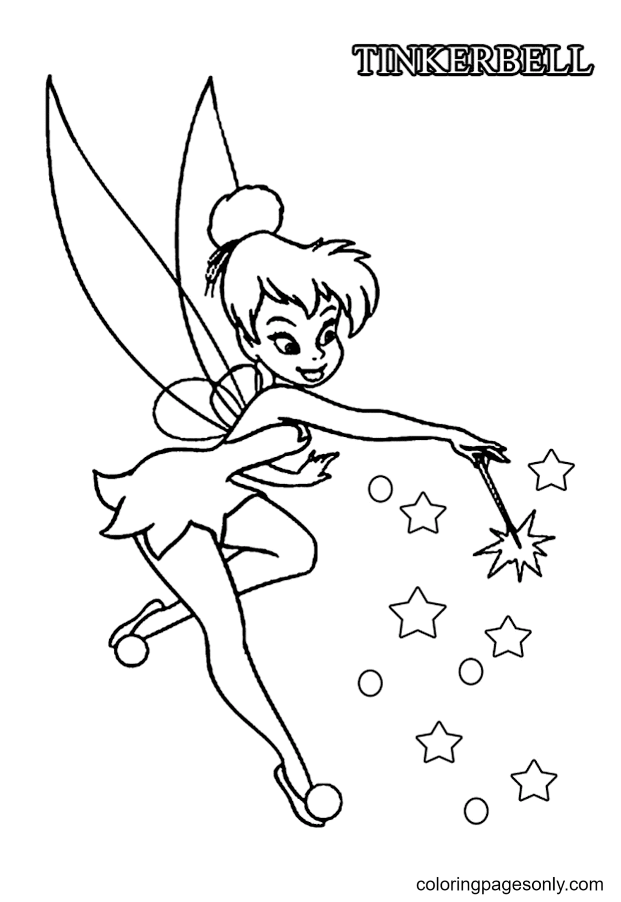 Happy TinkerBell Coloring Page