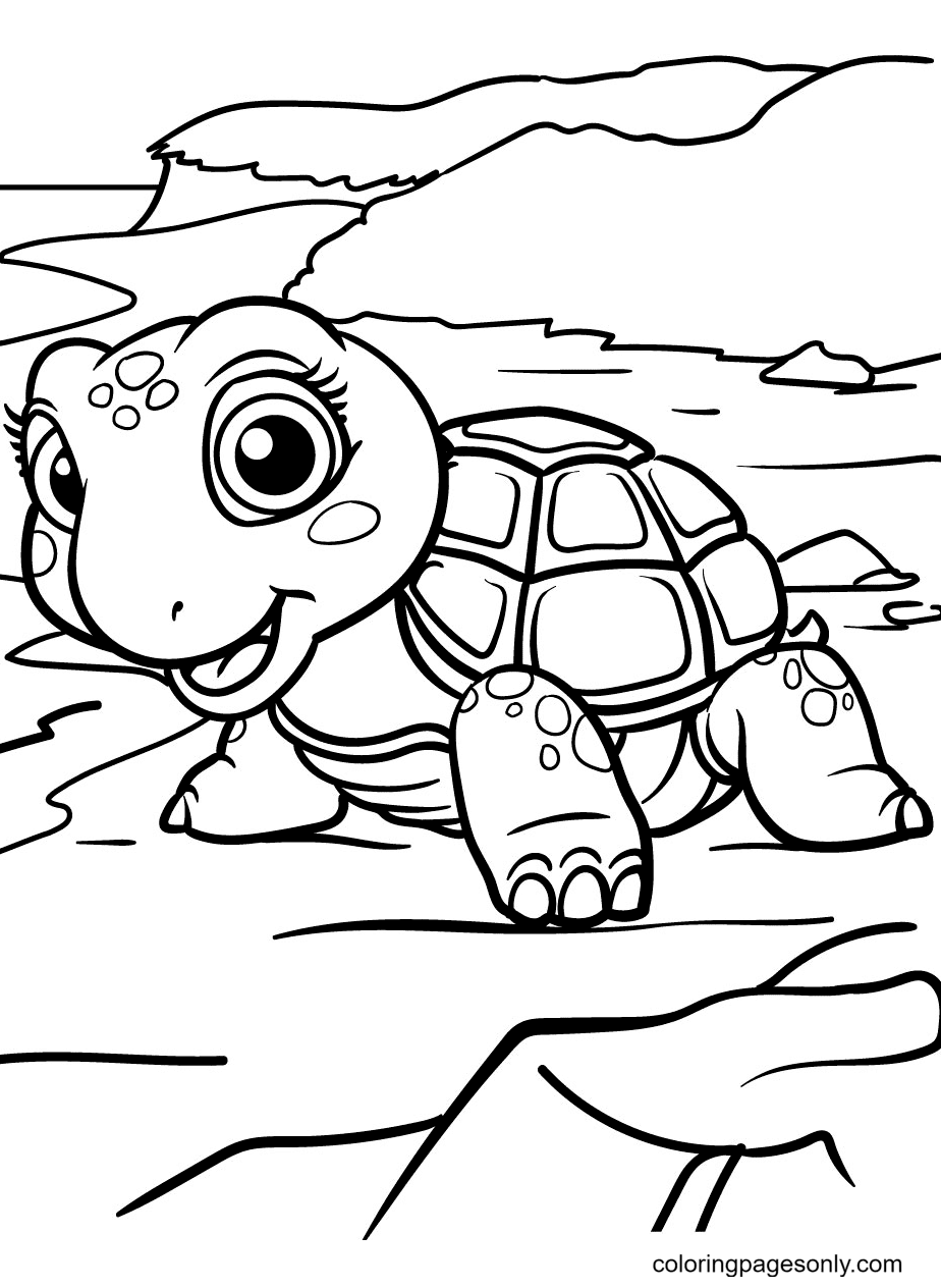 Happy and Relaxed Turtle on an Island Coloring Page