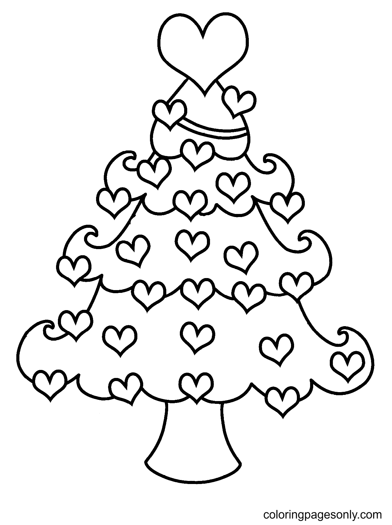 Heart Decorated Christmas Tree Coloring Page