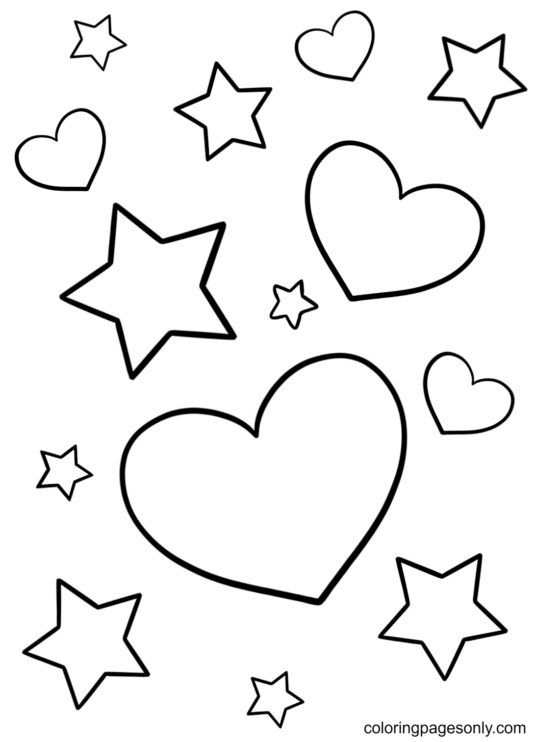 Hearts And Stars Coloring Page